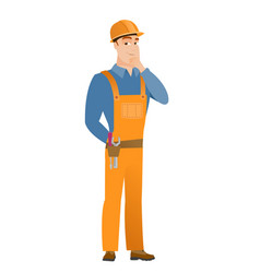 caucasian builder thinking vector image