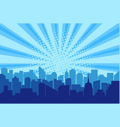 Comic city silhouette with sun rays halftone vector