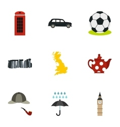 Country United Kingdom icons set flat style vector