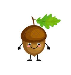 cute cartoon acorn characters vector image