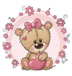 Cute cartoon teddy bear girl with heart and vector