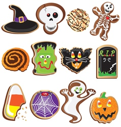 Cute halloween cookies clipart vector