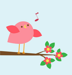 Cute pink bird sings on blooming branch vector