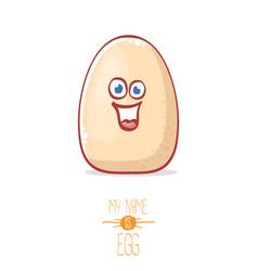 cute white egg cartoon kawaii character isolated vector image