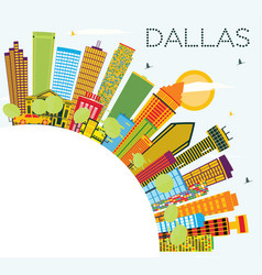 Dallas skyline with color buildings blue sky and vector