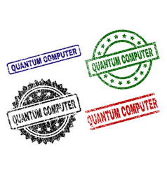 Damaged textured quantum computer seal stamps vector