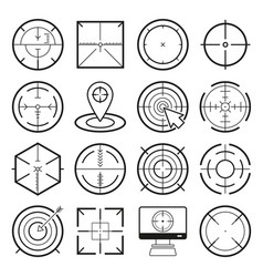 different icon set targets and destination vector image