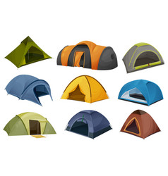 dome and tunnel camping tent isolated icons vector image