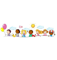 doodle kids and activity vector image