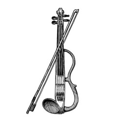 Electric violin with bow vector