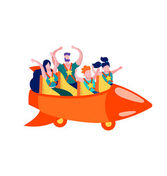 Family having fun on roller coaster promotion card vector