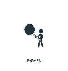 Farmer with haystack icon simple gardening vector