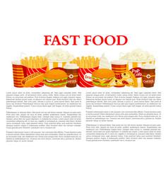 fast food poster of burger drink dessert vector image