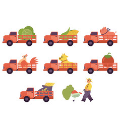 Flat flat farmer truck pickup delivering livestock vector