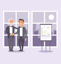flat people businessmen in formal black suits vector image