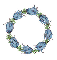 floral round frame space for text blue flower vector image