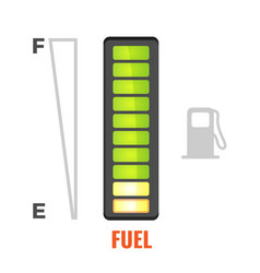 Fuel gauge in tank car icon from full to empty vector