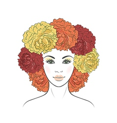 Girl with floral hair vector image