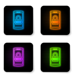 glowing neon mobile phone and password protection vector image