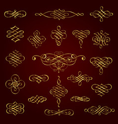 Golden decorative calligraphic design elements vector