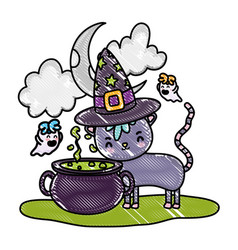 Grated cat wearing hat with pot cauldron and ghost vector