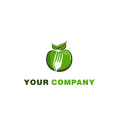 Green apple and negative space of fork logo vector