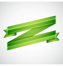 Green ribbon on gray vector