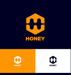 h letter monogram honeycomb logo honey emblem vector image