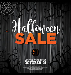 Halloween sale with spider and holiday elements vector