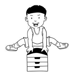 Hand drawn boy jumping gymnastic buck-cartoon vector
