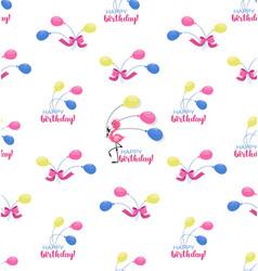 Happy birthday pink little flamingo with vector