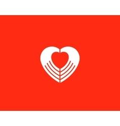 Heart negative space hands logotype vector image