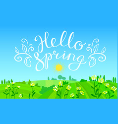 Hello spring hand drawn lettering with flourish vector