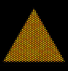 Hexagon halftone filled triangle icon vector