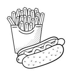 hot dog and french fries black and white vector image