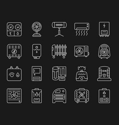 Hvac simple white line icons set vector