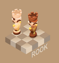 Isometric cartoon chess pieces rook flat vector