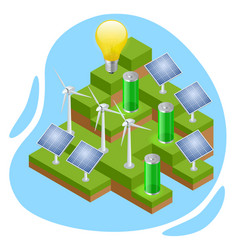 isometric eco-friendly and green energy concept vector image