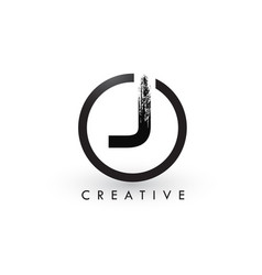 j brush letter logo design creative brushed vector image