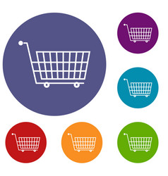 Large empty supermarket cart icons set vector