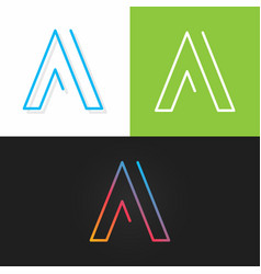 Letter a logo alphabet line design icon set vector