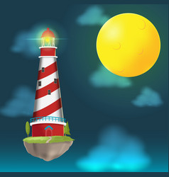Lighthouse float island cloud night vector
