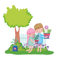 little kids couple lifting houseplant with fence vector image
