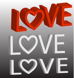 Love 3d text background set vector