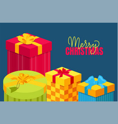 merry christmas postcard with gift packed in boxes vector image