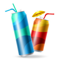 Metallic cans set vector