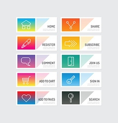 Modern banner button with social icon design vector image