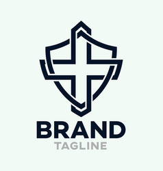 Modern cross in shield logo vector