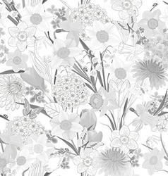 monochrome seamless texture with floral design vector image