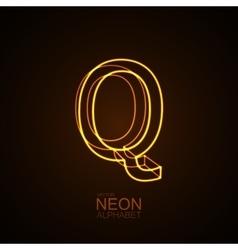 Neon 3D letter Q vector image